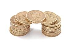 Britannici, Regno Unito, monete di libbra Fotografie Stock
