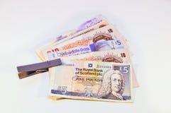 Britannique et écossais martèle le billet de banque photos stock