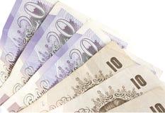 Briten 10 und Zwanzig Pfund Lizenzfreies Stockbild