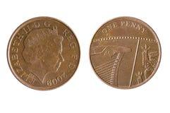 Briten eine Penny Coin Reverse Showing ein Segment des königlichen Schildes Lizenzfreie Stockbilder
