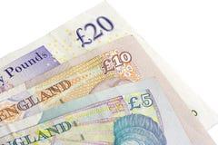 Briten fünf 10 und Zwanzig Pfund Lizenzfreies Stockbild