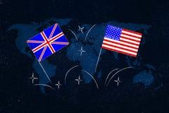 Briten und Symbol der amerikanischen Flaggen des Studierens von Englisch, wie fremd lizenzfreie stockfotos