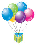 Brithday balloons and gift Stock Images