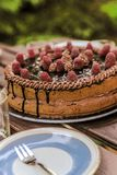 Brithday cake. View of birthday cake with a plate and small forch Royalty Free Stock Image