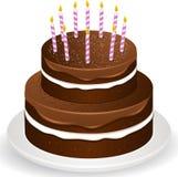 Brithday Kuchen und Kerzen der Schokolade Lizenzfreies Stockbild