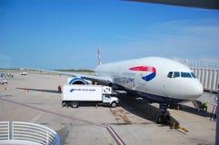 Brithish Airways aircraft. British Airways' Boeng 777 prepared for transatlantic flight at Gatwick airport Stock Photos