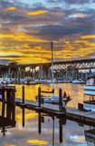 Britisch-Columbia Kanada Sonnenuntergang-Granville Island Burrard Street Bridges Vancouver Stockbilder