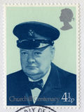 Britische Briefmarke, die das Jahrhundert von Churchill-` s gedenkt Stockfotografie