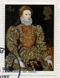 Britische Briefmarke, die ein Porträt der Königin Elizabeth I kennzeichnet stockbild
