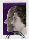Britische Briefmarke, welche die Königin ` s Silberhochzeit Ann feiert Lizenzfreies Stockbild