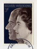 Britische Briefmarke, welche die Königin ` s Silberhochzeit Ann feiert Stockbild