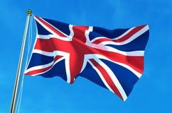 Britische Flagge, Flagge Vereinigten Königreichs auf dem Hintergrund des blauen Himmels Abbildung 3D Lizenzfreie Stockfotografie