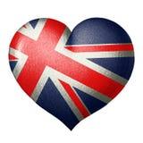 Britische Flagge in Form eines Herzens Getrennt auf weißem Hintergrund lizenzfreie abbildung