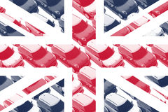 Britische Flagge, kleine Autos, MINI Stockfoto