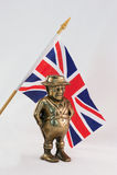 Britische Flagge mit Abbildung Johns Bull als Messingquerneigung Stockfotografie