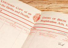 Britische Geburtsurkunde Lizenzfreies Stockfoto