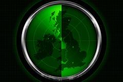Britische Insel auf dem Radar Stockbild