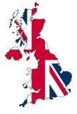 BRITISCHE Karte mit Markierungsfahne Stockfoto