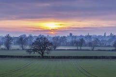 Britische Landschafts-Felder bei dunstigem Sonnenuntergang lizenzfreie stockfotos