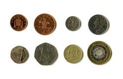 Britische Münzen (Sterling) Stockfotos