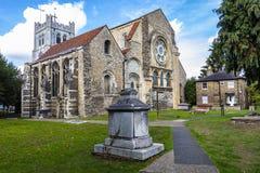 Britische Markstein-Kirche von Waltham Abbey Town stockbilder