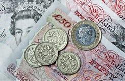 Britische Pfunde Banknoten und Münzen Stockfotografie