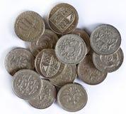 Britische Pounds Münzen Stockfoto
