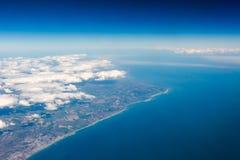 BRITISCHE Südkostenklippenansicht von der Spitze auf Eastbourne, Brighton, Engl. Stockfotografie