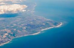 BRITISCHE Südkostenklippenansicht von der Spitze auf Eastbourne, Brighton, Engl. Lizenzfreie Stockfotos