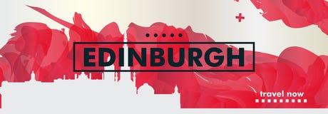 BRITISCHE Skylinestadtsteigungs-Vektorfahne Vereinigten Königreichs Edinburgh Lizenzfreies Stockfoto
