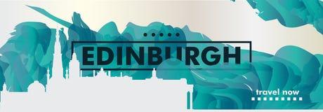 BRITISCHE Skylinestadtsteigungs-Vektorfahne Vereinigten Königreichs Edinburgh Stockfotos