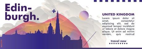 BRITISCHE Skylinestadtsteigungs-Vektorfahne Vereinigten Königreichs Edinburgh Lizenzfreie Stockbilder