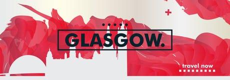 BRITISCHE Skylinestadtsteigungs-Vektorfahne Vereinigten Königreichs Glasgow Stockbild