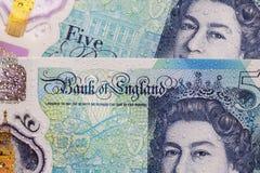 Britische Währung - fünf Pfund-Anmerkung Stockbild