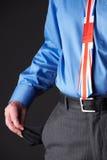 Britischer Geschäftsmann Wearing Union Jack Tie Pulling Out Pocket zu lizenzfreie stockfotos