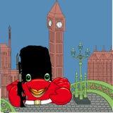 britischer Soldat der Krabbe auf Westminster-Brücke stockbild