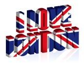 britischer Text 3d oder Hintergrund der Flaggenkunst Vereinigten Königreichs lizenzfreie abbildung