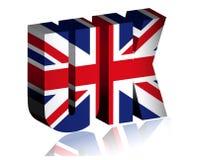 britischer Text 3d oder Hintergrund der Flaggenkunst Vereinigten K?nigreichs stock abbildung