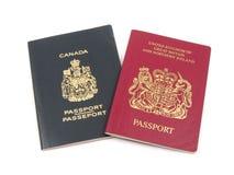 Britischer und kanadischer Paß Stockfotos