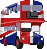 Britischer Union- Jackmarkierungsfahnen-Bus lizenzfreie abbildung