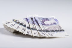 Britisches Bargeld Fan von Briten 20-Pfund-Banknoten Stockbilder