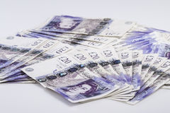Britisches Bargeld Fans von Briten 20-Pfund-Banknoten Hintergrund Stockfoto