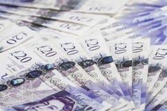 Britisches Bargeld Fans von Briten 20-Pfund-Banknoten Hintergrund Abschluss oben Stockbild