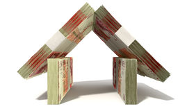 Britisches Pfund merkt Hausfassade Lizenzfreies Stockfoto