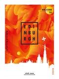 BRITISCHES Skylinestadtsteigungs-Vektorplakat Vereinigten Königreichs Edinburgh Lizenzfreies Stockbild