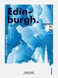 BRITISCHES Skylinestadtsteigungs-Vektorplakat Vereinigten Königreichs Edinburgh Stockbilder