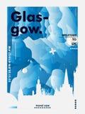 BRITISCHES Skylinestadtsteigungs-Vektorplakat Vereinigten Königreichs Glasgow Lizenzfreies Stockfoto