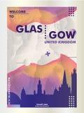 BRITISCHES Skylinestadtsteigungs-Vektorplakat Vereinigten Königreichs Glasgow Stockfoto