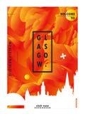 BRITISCHES Skylinestadtsteigungs-Vektorplakat Vereinigten Königreichs Glasgow Stockbilder