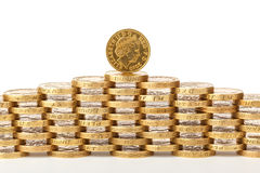 British 1 pound coins. British one pound coins stacked on top of each other Royalty Free Stock Photography